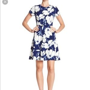 Eliza J Blue Floral Short Sleeve Dress. Size 10